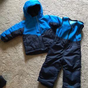 Columbia winter coat and overalls